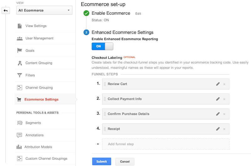 ecomerce google analytics admin