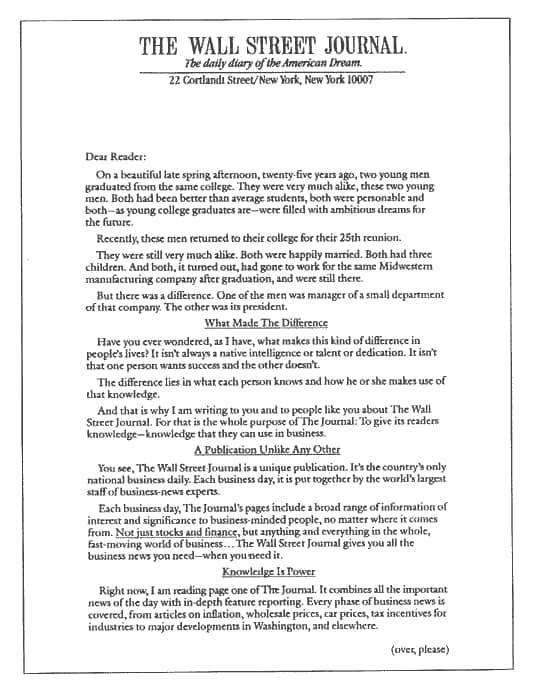 carta del wall street journal que circuló por 27 años - 1