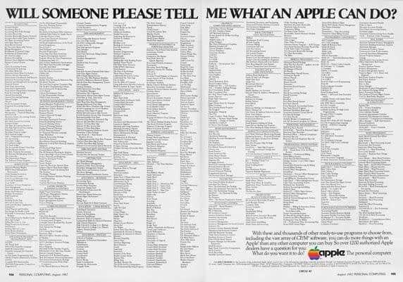 publicidad apple llena de texto