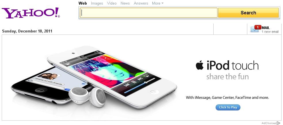 banner Apple ipod en Yahoo